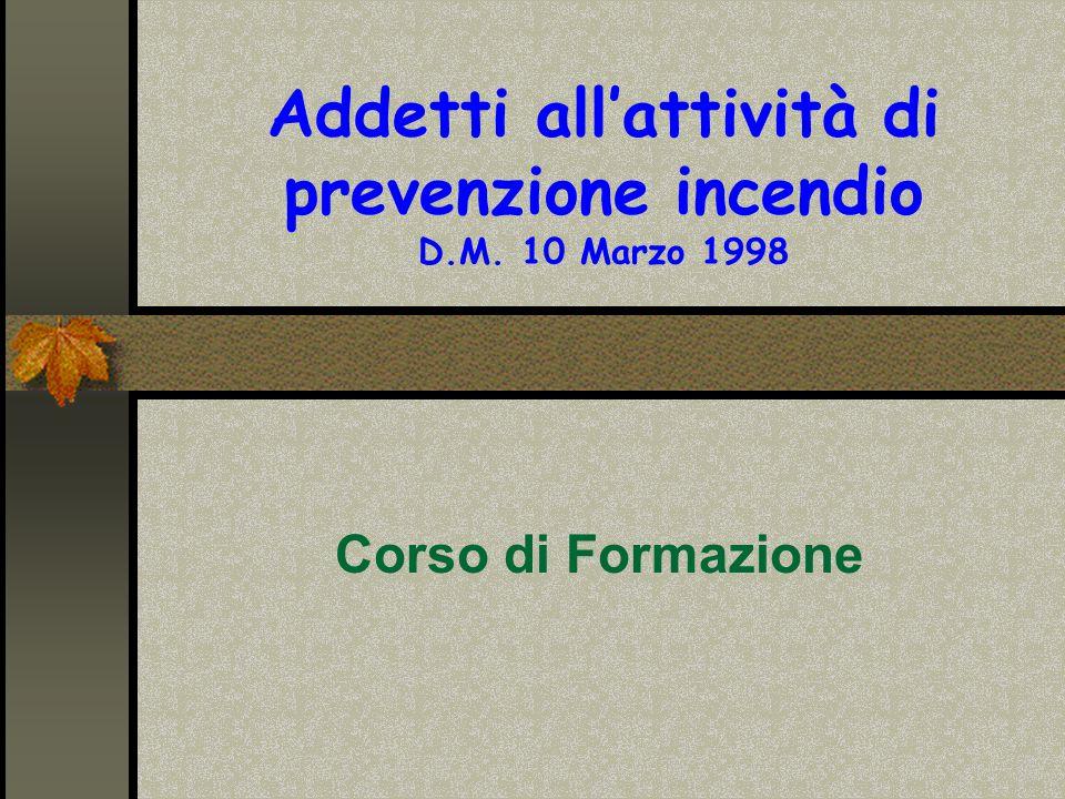 Addetti all'attività di prevenzione incendio D.M. 10 Marzo 1998 Corso di Formazione