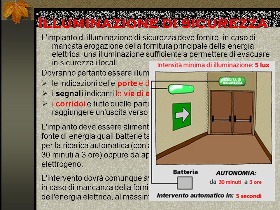 Illuminazione di sicurezza L impianto di illuminazione di sicurezza deve fornire, in caso di mancata erogazione della fornitura principale della energia elettrica, una illuminazione sufficiente a permettere di evacuare in sicurezza i locali.