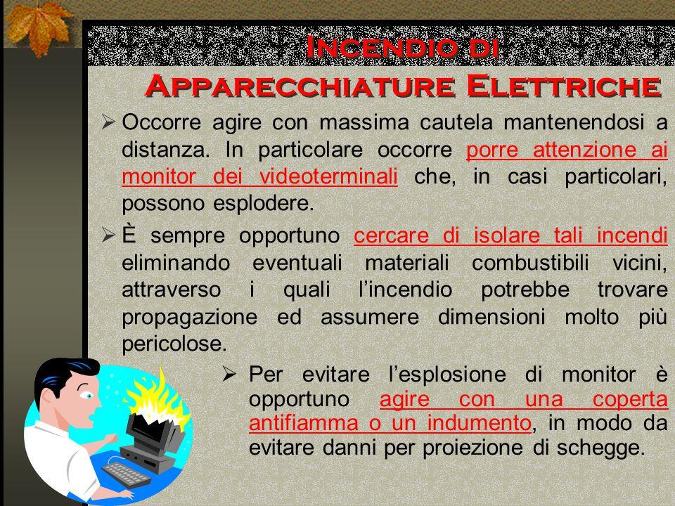 Incendio di Apparecchiature Elettriche  Occorre agire con massima cautela mantenendosi a distanza.