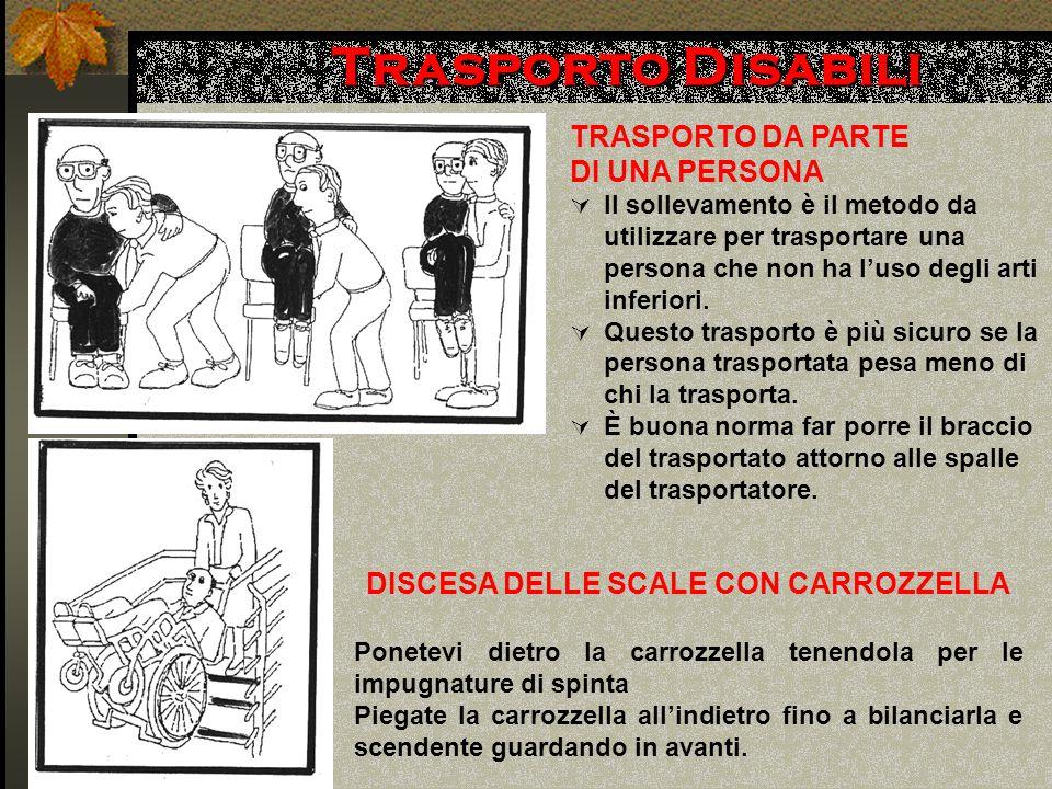 Trasporto Disabili TRASPORTO DA PARTE DI UNA PERSONA  Il sollevamento è il metodo da utilizzare per trasportare una persona che non ha l'uso degli arti inferiori.
