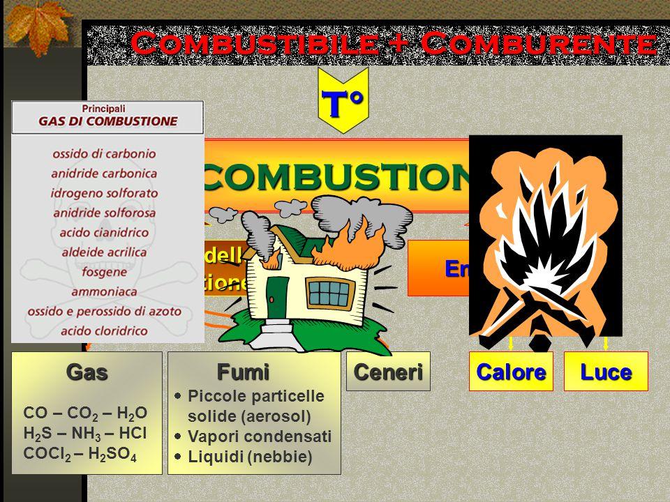 Combustibile + Comburente COMBUSTIONE T° Prodotti della combustione GasFumiCeneri CO – CO 2 – H 2 O H 2 S – NH 3 – HCl COCl 2 – H 2 SO 4  Piccole particelle solide (aerosol)  Vapori condensati  Liquidi (nebbie) Energia LuceCalore