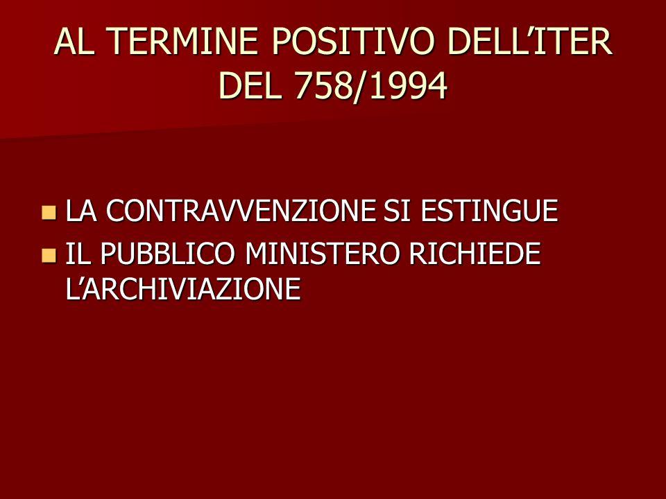 AL TERMINE POSITIVO DELL'ITER DEL 758/1994 LA CONTRAVVENZIONE SI ESTINGUE LA CONTRAVVENZIONE SI ESTINGUE IL PUBBLICO MINISTERO RICHIEDE L'ARCHIVIAZION