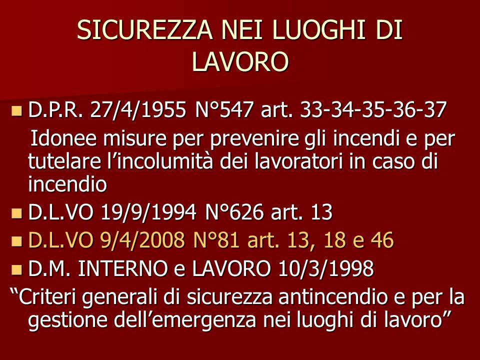SICUREZZA NEI LUOGHI DI LAVORO D.P.R. 27/4/1955 N°547 art. 33-34-35-36-37 D.P.R. 27/4/1955 N°547 art. 33-34-35-36-37 Idonee misure per prevenire gli i