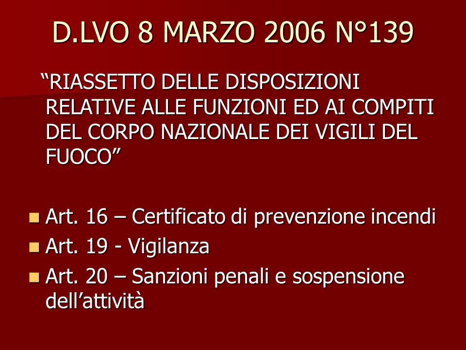 """D.LVO 8 MARZO 2006 N°139 """"RIASSETTO DELLE DISPOSIZIONI RELATIVE ALLE FUNZIONI ED AI COMPITI DEL CORPO NAZIONALE DEI VIGILI DEL FUOCO"""" """"RIASSETTO DELLE"""