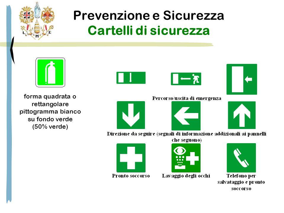 Prevenzione e Sicurezza Cartelli di sicurezza forma quadrata o rettangolare pittogramma bianco su fondo verde (50% verde)