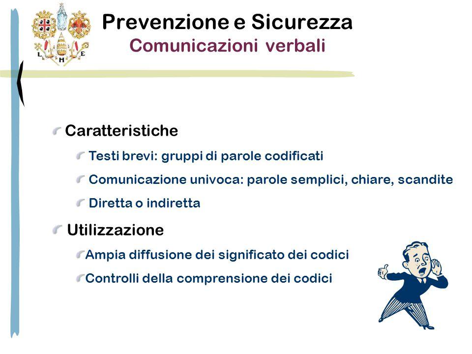Prevenzione e Sicurezza Comunicazioni verbali Caratteristiche Testi brevi: gruppi di parole codificati Comunicazione univoca: parole semplici, chiare,