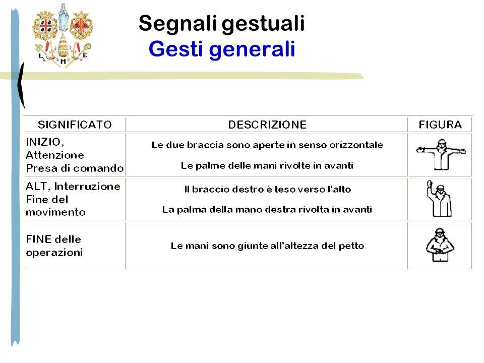 Segnali gestuali Gesti generali