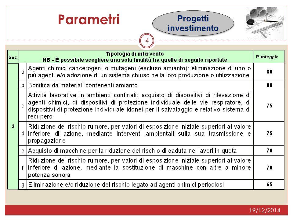 5 Parametri Progetti investimento 19/12/2014