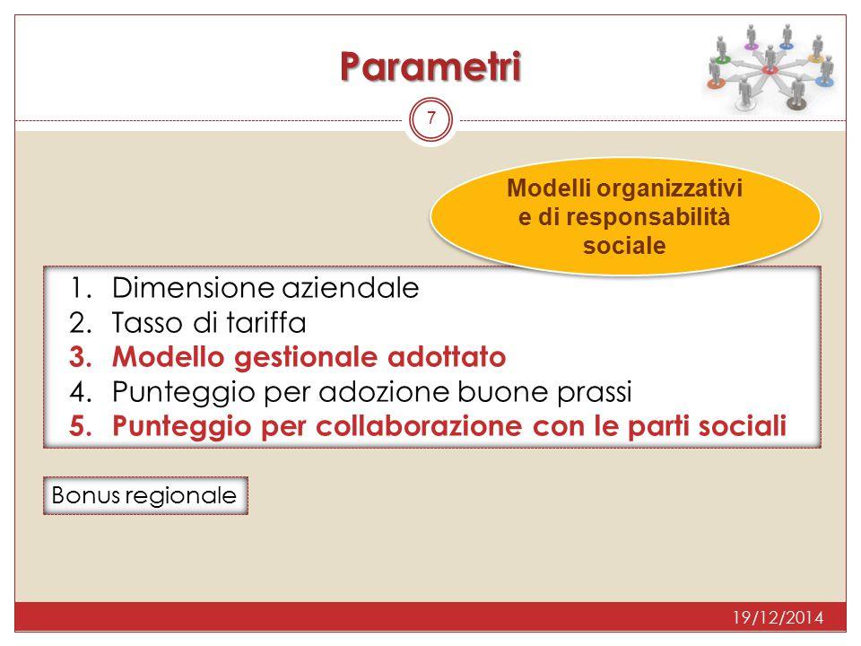 Parametri 7 1.Dimensione aziendale 2.Tasso di tariffa 3.Modello gestionale adottato 4.Punteggio per adozione buone prassi 5.Punteggio per collaborazio