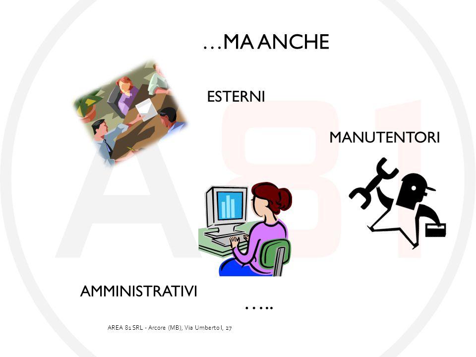 …MA ANCHE ESTERNI MANUTENTORI AMMINISTRATIVI ….. AREA 81 SRL - Arcore (MB), Via Umberto I, 27