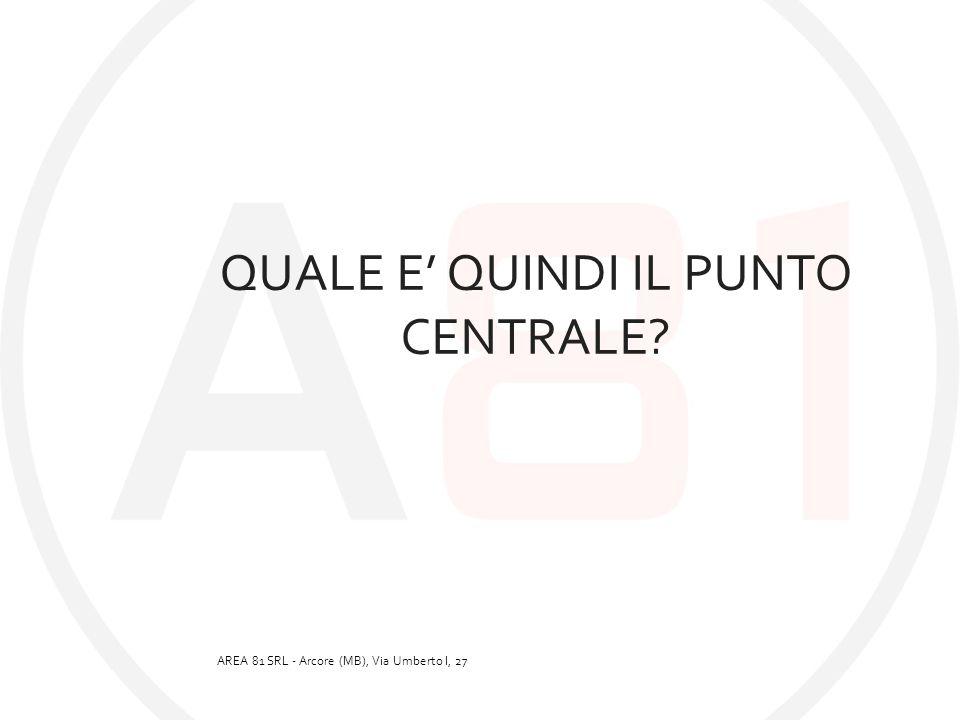 QUALE E' QUINDI IL PUNTO CENTRALE? AREA 81 SRL - Arcore (MB), Via Umberto I, 27