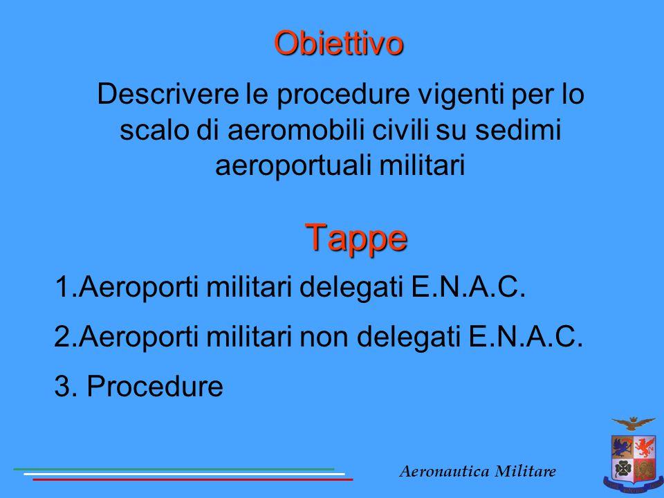 Aeronautica Militare Tappe 1.Aeroporti militari delegati E.N.A.C. 2.Aeroporti militari non delegati E.N.A.C. 3. Procedure Obiettivo Descrivere le proc