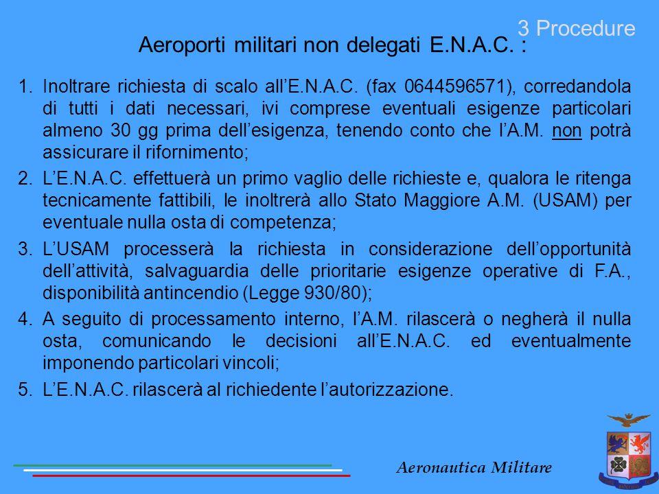 Aeronautica Militare Aeroporti militari non delegati E.N.A.C. : 3 Procedure 1.Inoltrare richiesta di scalo all'E.N.A.C. (fax 0644596571), corredandola