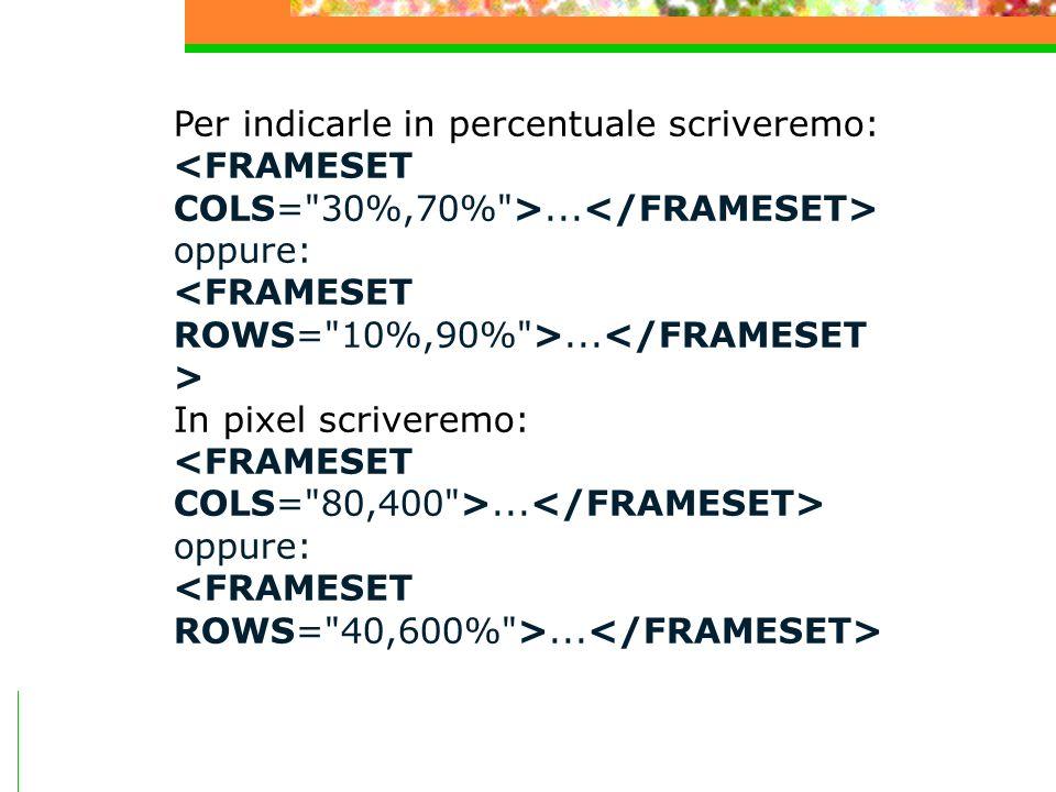 Per indicarle in percentuale scriveremo:... oppure:... In pixel scriveremo:... oppure:...