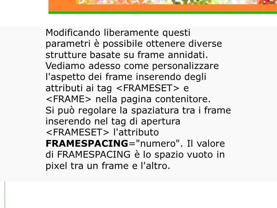 Modificando liberamente questi parametri è possibile ottenere diverse strutture basate su frame annidati.