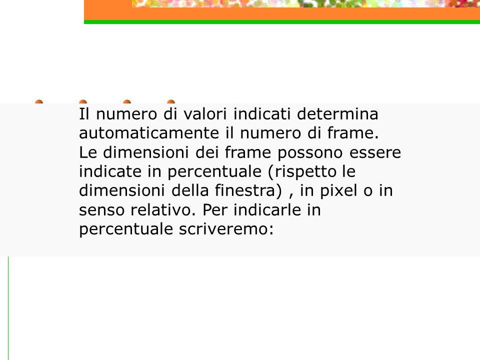 Il numero di valori indicati determina automaticamente il numero di frame.