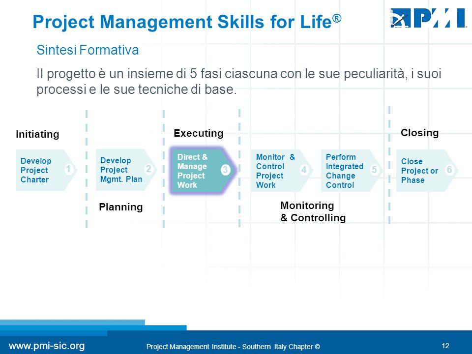 12 www.pmi-sic.org Project Management Institute - Southern Italy Chapter © Il progetto è un insieme di 5 fasi ciascuna con le sue peculiarità, i suoi