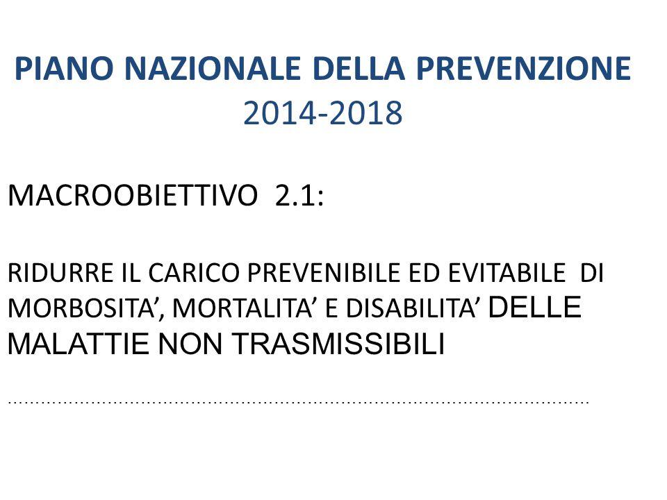 PIANO NAZIONALE DELLA PREVENZIONE 2014-2018 MACROOBIETTIVO 2.1: RIDURRE IL CARICO PREVENIBILE ED EVITABILE DI MORBOSITA', MORTALITA' E DISABILITA' DEL