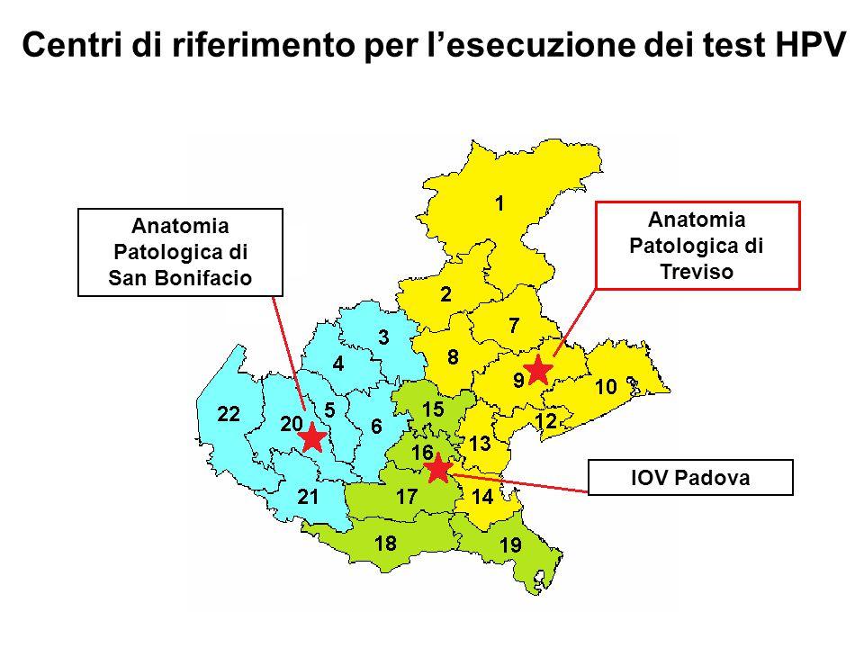 Centri di riferimento per l'esecuzione dei test HPV Anatomia Patologica di Treviso IOV Padova Anatomia Patologica di San Bonifacio