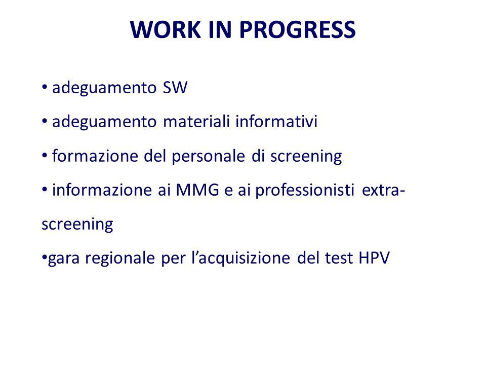 WORK IN PROGRESS adeguamento SW adeguamento materiali informativi formazione del personale di screening informazione ai MMG e ai professionisti extra- screening gara regionale per l'acquisizione del test HPV