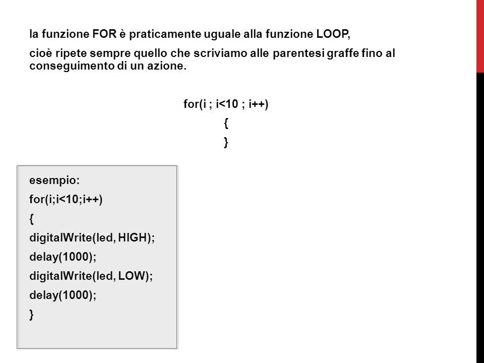 la funzione FOR è praticamente uguale alla funzione LOOP, cioè ripete sempre quello che scriviamo alle parentesi graffe fino al conseguimento di un az