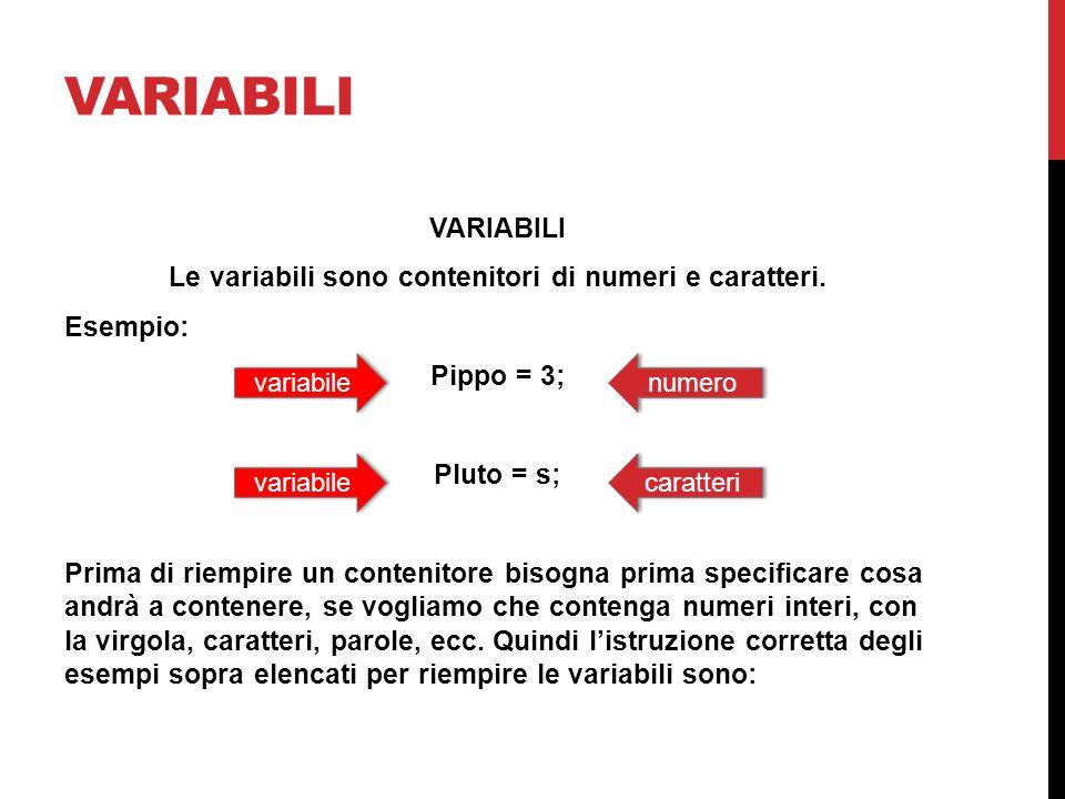 VARIABILI Le variabili sono contenitori di numeri e caratteri. Esempio: Pippo = 3; Pluto = s; Prima di riempire un contenitore bisogna prima specifica