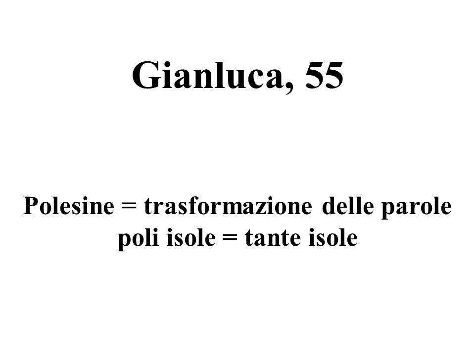 Gianluca, 55 Polesine = trasformazione delle parole poli isole = tante isole
