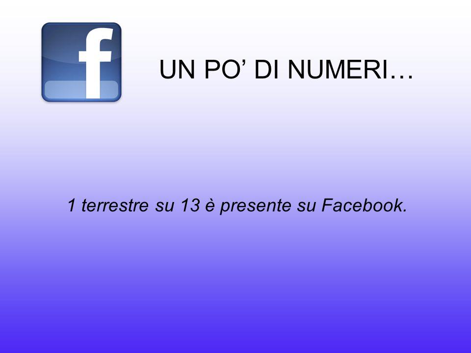 UN PO' DI NUMERI… 1 terrestre su 13 è presente su Facebook.