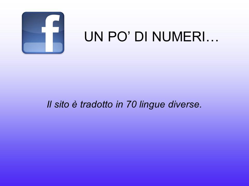 UN PO' DI NUMERI… Il sito è tradotto in 70 lingue diverse.