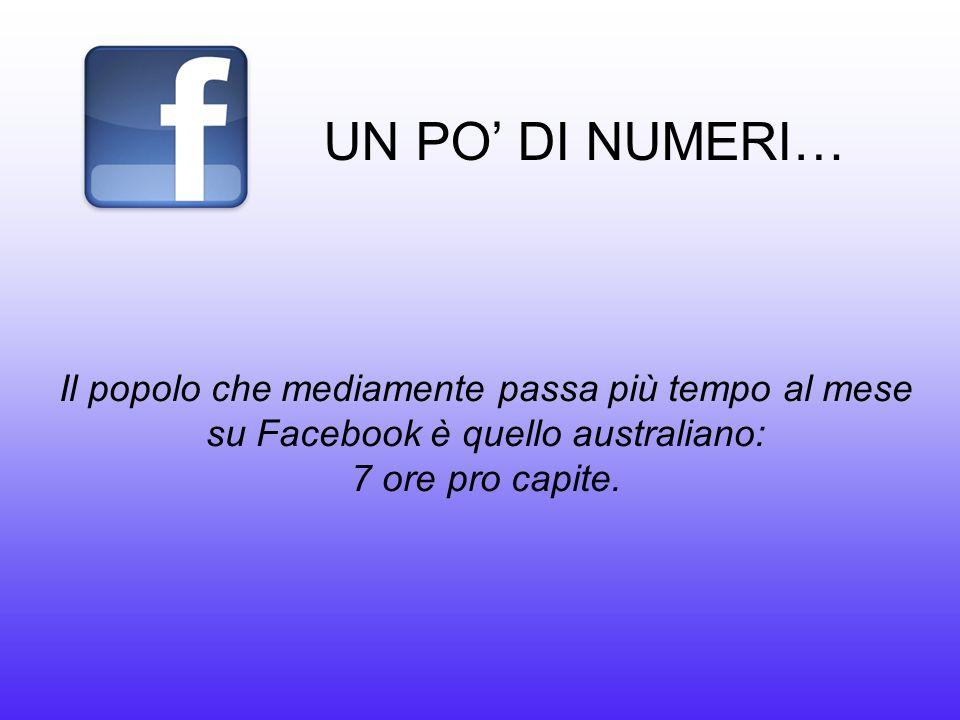 UN PO' DI NUMERI… Il popolo che mediamente passa più tempo al mese su Facebook è quello australiano: 7 ore pro capite.
