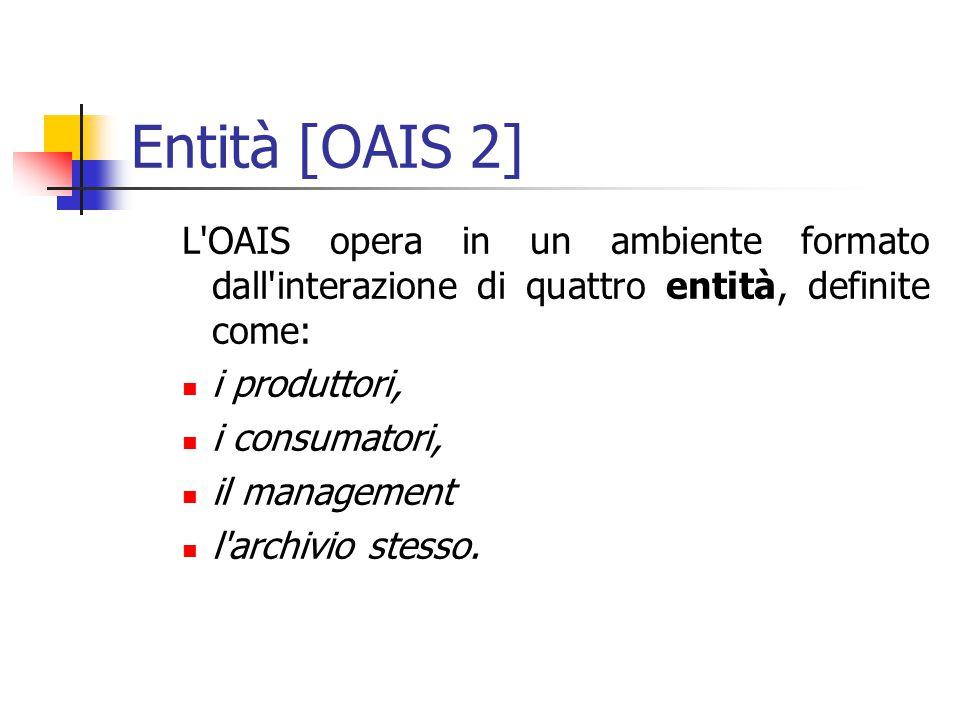 Entità [OAIS 2] L OAIS opera in un ambiente formato dall interazione di quattro entità, definite come: i produttori, i consumatori, il management l archivio stesso.