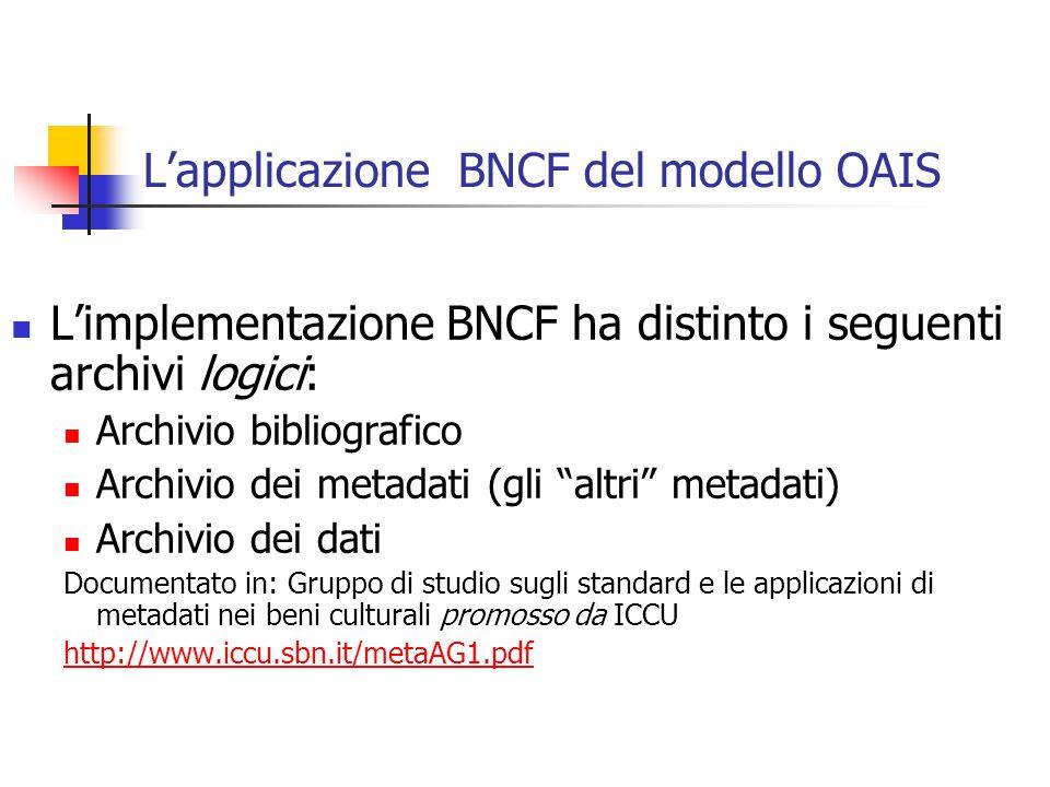 L'applicazione BNCF del modello OAIS L'implementazione BNCF ha distinto i seguenti archivi logici: Archivio bibliografico Archivio dei metadati (gli altri metadati) Archivio dei dati Documentato in: Gruppo di studio sugli standard e le applicazioni di metadati nei beni culturali promosso da ICCU http://www.iccu.sbn.it/metaAG1.pdf