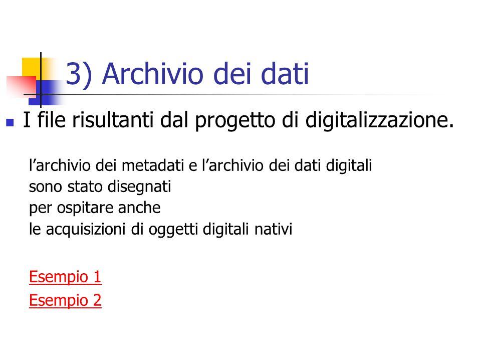 3) Archivio dei dati I file risultanti dal progetto di digitalizzazione.