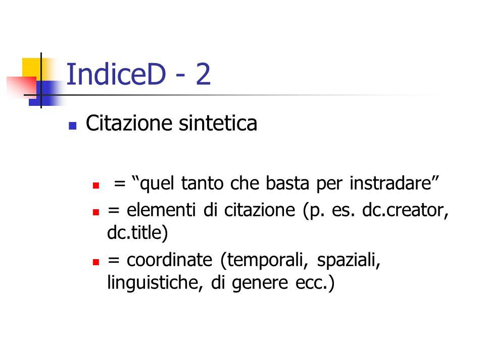 IndiceD - 2 Citazione sintetica = quel tanto che basta per instradare = elementi di citazione (p.