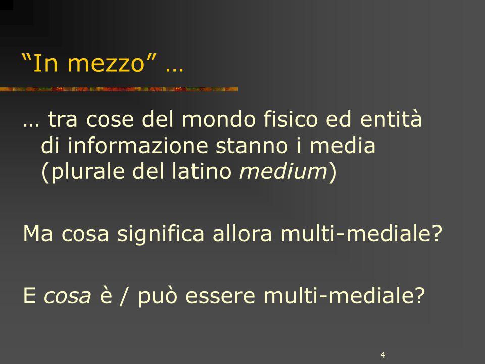 4 In mezzo … … tra cose del mondo fisico ed entità di informazione stanno i media (plurale del latino medium) Ma cosa significa allora multi-mediale.