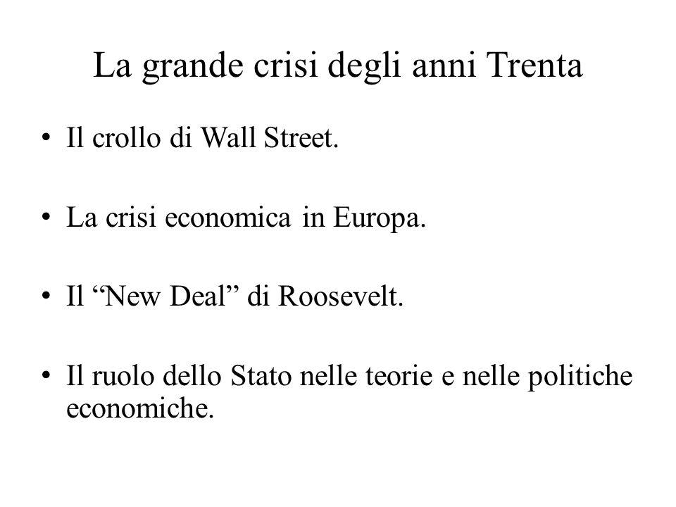 """La grande crisi degli anni Trenta Il crollo di Wall Street. La crisi economica in Europa. Il """"New Deal"""" di Roosevelt. Il ruolo dello Stato nelle teori"""