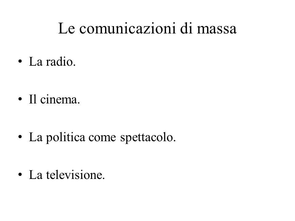 Le comunicazioni di massa La radio. Il cinema. La politica come spettacolo. La televisione.