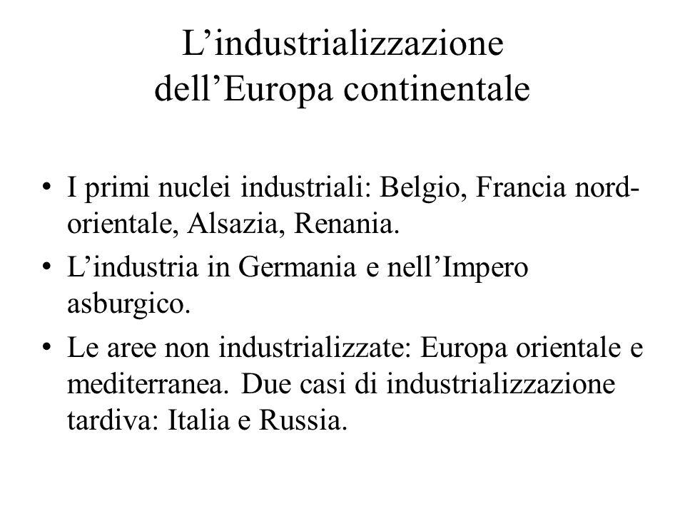 L'industrializzazione dell'Europa continentale I primi nuclei industriali: Belgio, Francia nord- orientale, Alsazia, Renania. L'industria in Germania