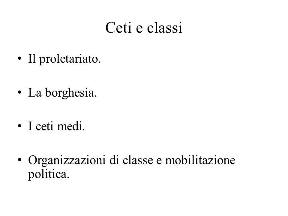 Ceti e classi Il proletariato. La borghesia. I ceti medi. Organizzazioni di classe e mobilitazione politica.
