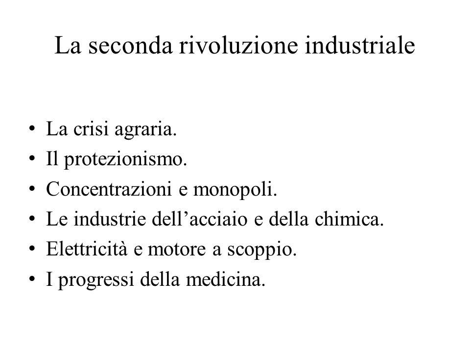 La seconda rivoluzione industriale La crisi agraria. Il protezionismo. Concentrazioni e monopoli. Le industrie dell'acciaio e della chimica. Elettrici