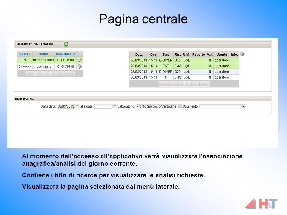 Pagina centrale Al momento dell'accesso all'applicativo verrà visualizzata l'associazione anagrafica/analisi del giorno corrente.