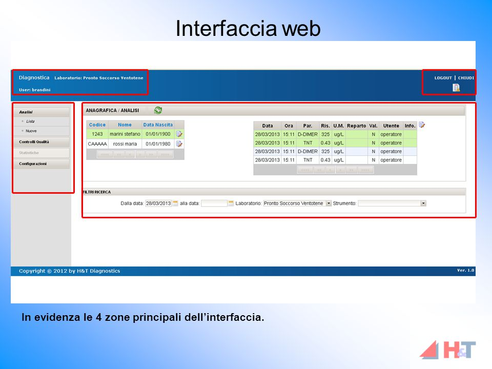 Interfaccia web In evidenza le 4 zone principali dell'interfaccia.