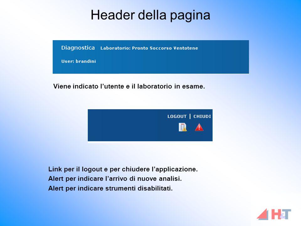 Header della pagina Viene indicato l'utente e il laboratorio in esame.