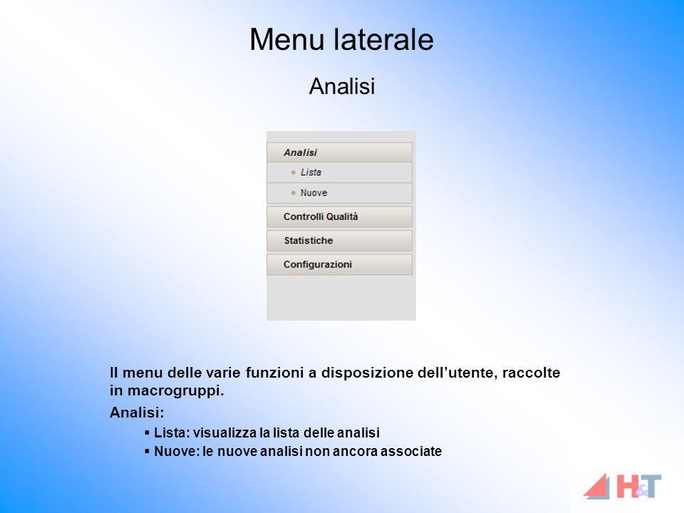Il menu delle varie funzioni a disposizione dell'utente, raccolte in macrogruppi.
