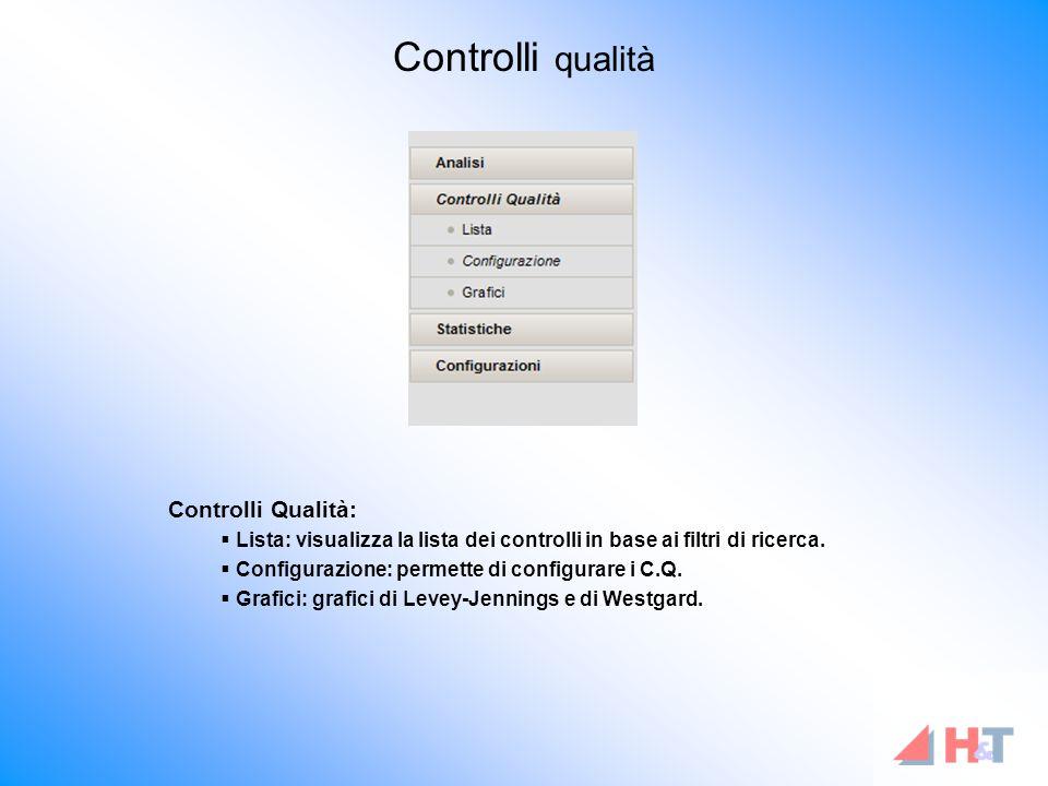 Controlli Qualità:  Lista: visualizza la lista dei controlli in base ai filtri di ricerca.