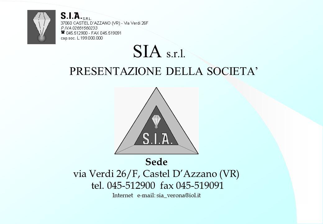 SIA s.r.l. PRESENTAZIONE DELLA SOCIETA' Sede via Verdi 26/F, Castel D'Azzano (VR) tel. 045-512900 fax 045-519091 Internet e-mail: sia_verona@iol.it