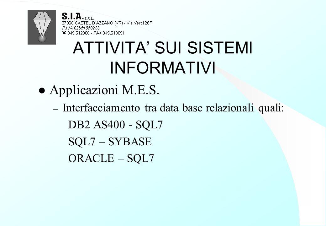 ATTIVITA' SUI SISTEMI INFORMATIVI l Applicazioni M.E.S. – Interfacciamento tra data base relazionali quali: DB2 AS400 - SQL7 SQL7 – SYBASE ORACLE – SQ