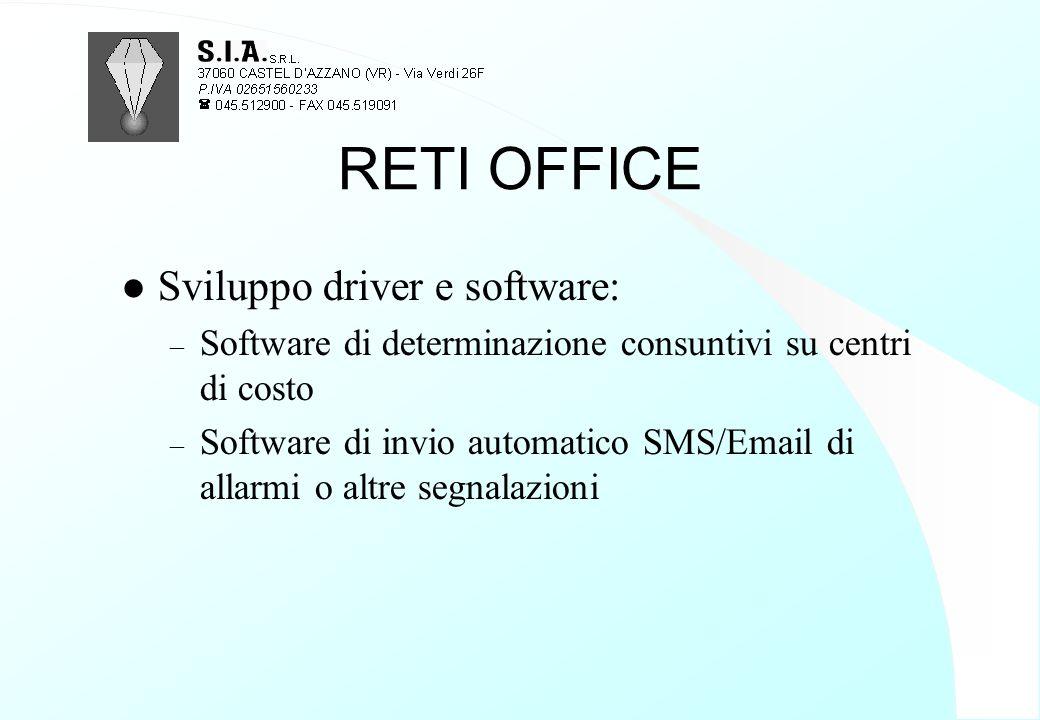 RETI OFFICE l Sviluppo driver e software: – Software di determinazione consuntivi su centri di costo – Software di invio automatico SMS/Email di allar