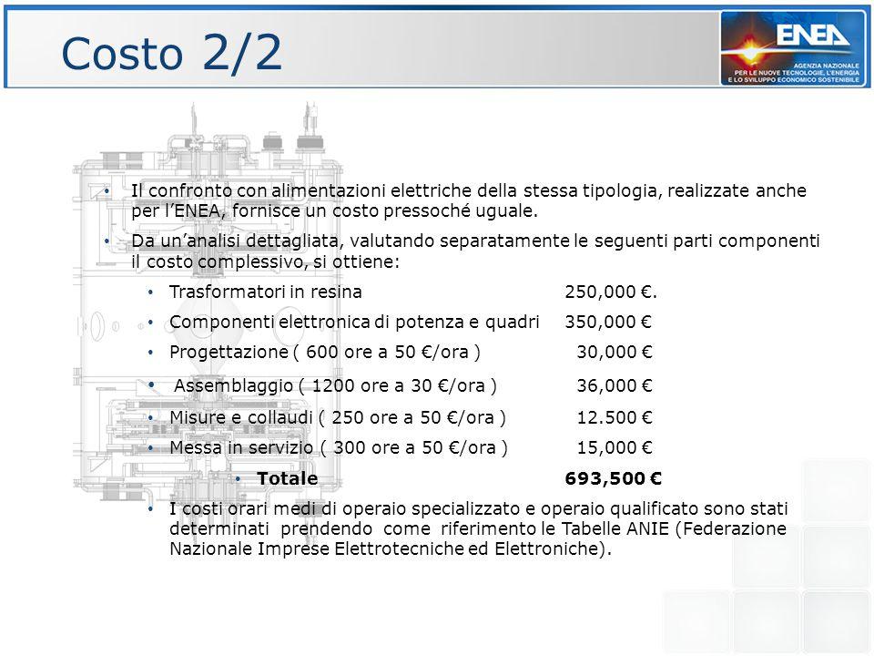 Costo 2/2 Il confronto con alimentazioni elettriche della stessa tipologia, realizzate anche per l'ENEA, fornisce un costo pressoché uguale.