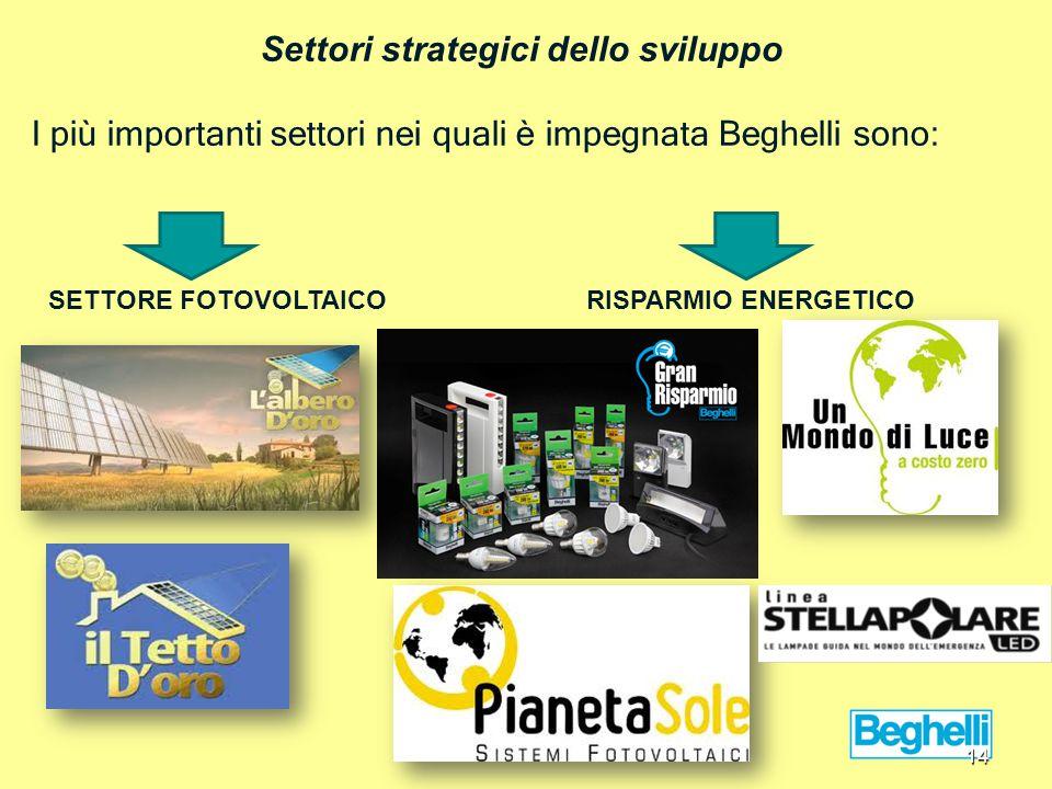 Settori strategici dello sviluppo I più importanti settori nei quali è impegnata Beghelli sono: SETTORE FOTOVOLTAICORISPARMIO ENERGETICO 14
